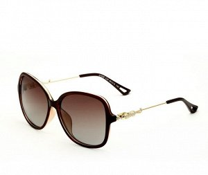 """Женские солнцезащитные очки стрекоза в защитном чехле с надписью """"Veithdia"""", коричневые линзы, коричнево-красная  оправа, золотистые дужки с декоративным золотым элементом на шарнире в виде леопарда"""