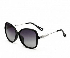 """Женские солнцезащитные очки стрекоза в защитном чехле с надписью """"Veithdia"""", фиолетовые линзы, фиолетовая оправа, серебристые  дужки с декоративным  элементом на шарнире в виде леопарда"""