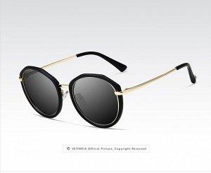 Женские солнцезащитные очки панто в защитном чехле, темно-серые линзы, чернная оправа, золотистые дужки, черные заушники