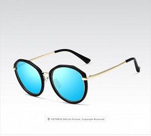 Женские солнцезащитные очки панто в защитном чехле, синии линзы, черная оправа, золотистые дужки, черные заушники