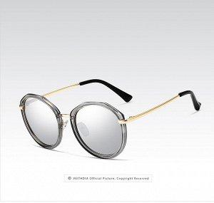 Женские солнцезащитные очки панто в защитном чехле, серые линзы, серая прозрачная оправа, золотистые дужки, черные заушники