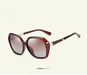 Женские солнцезащитные очки  в защитном чехле, коричневые линзы, коричневая оправа, дужки с интересным декоративным элементом