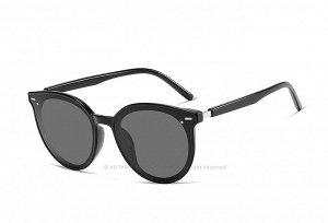 Женские поляризованные солнцезащитные очки в защитном чехле, черная оправа,  черные дужки и заушники