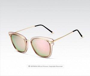 """Женские солнцезащитные очки в защитном чехле с надписью """"Veithdia"""", розовые линзы, рзовая прозрачная оправа с золотистым декором, золотые дужки, черные заушники"""