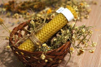 Эзотерическая закупка, большой выбор свечей и карт таро — Свечи из вощины с травами, 1 час — Свечи и подсвечники