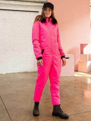 Женский зимний комбинезон, цвет ярко-розовый.