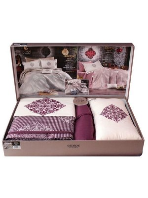 Покрывало с наволочками и с постельным бельем  модель ADENYA цвет фиолетовый