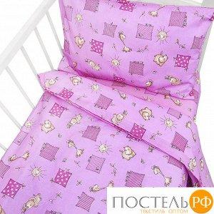 Постельное белье в детскую кроватку 366/3 Жирафики цвет розовый ГОСТ (Прямоугольная ПВХ)