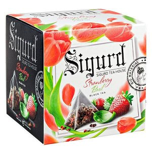 Чай SIGURD 'STRAWBERRY BASIL' 15 пирамидок/саше-конверт