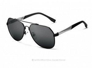 """Мужские поляризованные солнцезащитные очки авиаторы с надписью """"Veithdia"""" в защитном чехле, темно-серая линза, черная оправа, серые дужки"""