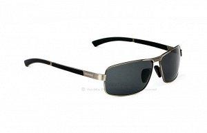 """Мужские поляризованные солнцезащитные очки  с надписью """"Veithdia"""" в защитном чехле, темно-серая линза, серая оправа, серые дужки со вставками"""
