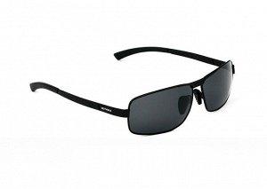 """Мужские поляризованные солнцезащитные очки  с надписью """"Veithdia"""" в защитном чехле, темно-серая линза, черная оправа, черные дужки"""