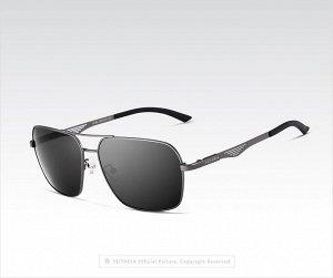 """Мужские поляризованные солнцезащитные очки авиаторы с надписью """"Veithdia"""" в защитном чехле, темно-серая линза, серая оправа, серая дужка с узором"""