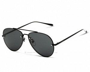 """Мужские поляризованные солнцезащитные очки авиаторы с надписью """"Veithdia"""" в защитном чехле, темно-серая линза, черная оправа, черные дужки и заушники"""