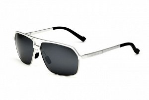 """Мужские солнцезащитные очки с надписью """"Veithdia"""" в защитном чехле, темно-серая линза, серебристая оправа, черные заушники"""