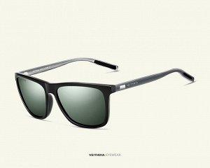 """Мужские солнцезащитные очки вайфарер в защитном чехле с надписью """"Veithdia"""", темно-зеленая линза, серая оправа, серые дужки и заушники"""