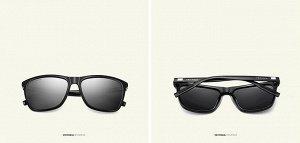 """Мужские солнцезащитные очки вайфарер в защитном чехле с надписью """"Veithdia"""", темно-серая линза, черная оправа, черные дужки и заушники"""