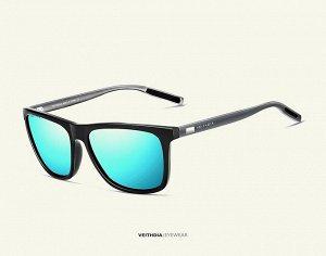 """Мужские солнцезащитные очки вайфарер в защитном чехле с надписью """"Veithdia"""", синяя линза, черная оправа, серые дужки и заушники"""