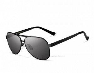 """Мужские солнцезащитные очки авиаторы в защитном чехле с надписью """"Veithdia"""", темно-серая линза, черная оправа, черные дужки и заушники"""