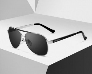 """Мужские солнцезащитные очки авиаторы в защитном чехле с надписью """"Veithdia"""", темно-серая линза, серебристая оправа, черные заушники"""