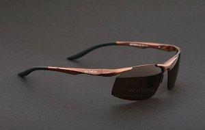 """Мужские спортивные солнцезащитные очки в защитном чехле с надписью """"Veithdia"""", коричневые линзы, коричневая оправа и дужки, черные заушники"""