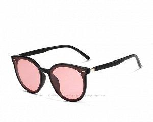 Женские поляризованные солнцезащитные очки в защитном чехле, черная оправа,  черные дужки и заушники, розовые линзы