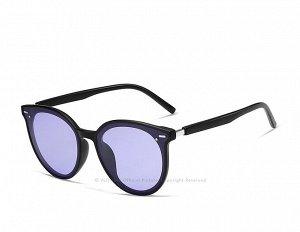 Женские поляризованные солнцезащитные очки в защитном чехле, черная оправа,  черные дужки и заушники, пурпурно-синии линзы