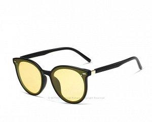 Женские поляризованные солнцезащитные очки в защитном чехле, черная оправа,  черные дужки и заушники, желтые линзы