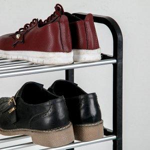 Полка для обуви Доляна, 4 яруса, 50?19?60 см, цвет чёрный