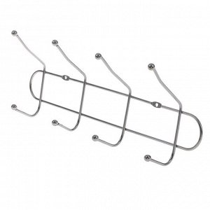 Вешалка настенная на 4 двойных крючка Доляна «Блеск», 31?7?12 см, цвет серебро