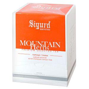 Чай чай SIGURD 'MOUNTAIN HERBS' 20 пирамидок Чайный напиток из смеси растительного сырья пакетированный в пирамидках. Травяной чайный напиток на основе трав (мята, ромашка, лимонная трава) в пирамидка