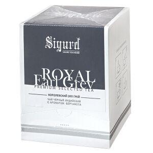 Чай чай SIGURD 'ROYAL EARL GREY' 20 пирамидок Чай черный байховый индийский ароматизированный с добавками растительного сырья пакетированный в пирамидках. Классический чайный купаж Эрл Грей с добавлен