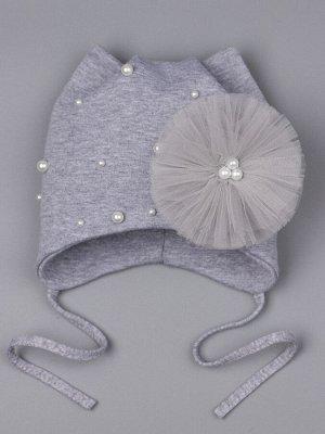Шапка трикотажная для девочки на завязках с кошачьими ушками