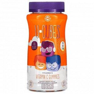 Solgar, U-Cubes, жевательные мармеладки с витамином C для детей, апельсин и клубника, 90 жевательных мармеладок