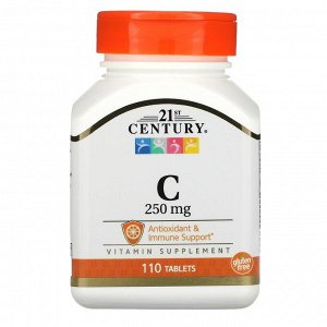 21st Century, Витамин C, 250 мг, 110 таблеток
