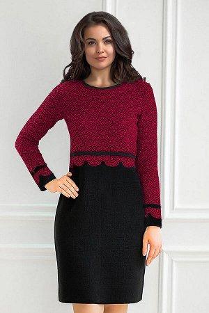 Платье вязаное 4177 К  Вишневый черный