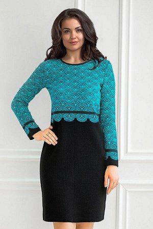 Платье вязаное 4177 К  Черный, бирюзовый