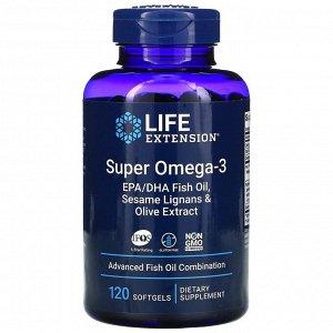 Life Extension, супер омега-3 из рыбьего жира с ЭПК и ДГК, с лигнанами кунжута и экстрактом оливы, 120 мягких таблеток