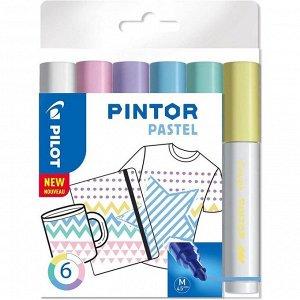 Маркер для декора Набор 6цв Pilot PINTOR Pastel перман. 4.5мм, пласт/уп Pintor-Pastel-M-S6_