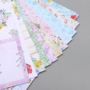 "Набор бумаги для скрапбукинга ""Мелодия цветов""  30,5х30,5 см 190гр/м 11 листов"