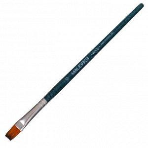Кисть Синтетика Плоская Malevich Andy №10, b-10.0 мм L-13 мм (короткая ручка), синий лак 753110