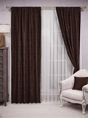 Комплект штор оттенка венге:   2 шторы по 200 см