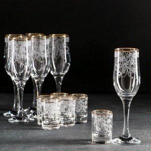Набор подарочный Декостек «Акация», 12 предметов: 6 бокалов 200 мл, 6 стопок 50 мл, гравировка, отводка золотом