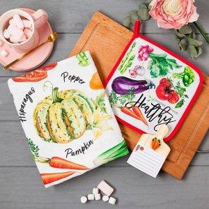Набор подарочный «Vegetables» полотенце 40х73 см, прихватка 19х19 см, магнит 11х7 см