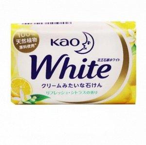 """309242  KAO """"White Citrus"""" Кусковое крем-мыло с ароматом цитрусовых фруктов 130гр"""
