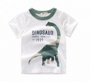 """Футболка детская, принт """"Динозавр"""", цвет белый/зеленый"""