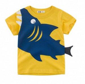 """Футболка детская, принт """"Акула"""", цвет желтый/синий"""