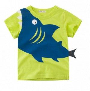 """Футболка детская, принт """"Акула"""", цвет зеленый/синий"""