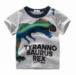 """Футболка детская, принт """"Динозавр"""", цвет серый"""