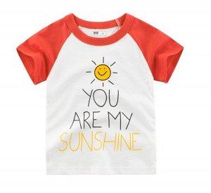 """Футболка детская, надпись """"You are my sunshine"""", цвет белый/красный"""